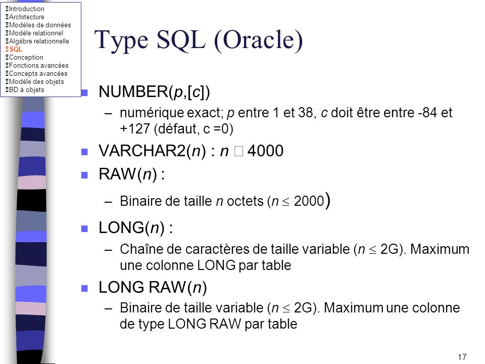 Type SQL (Oracle) NUMBER(p,[c]) VARCHAR2(n) : n £ 4000 RAW(n) :